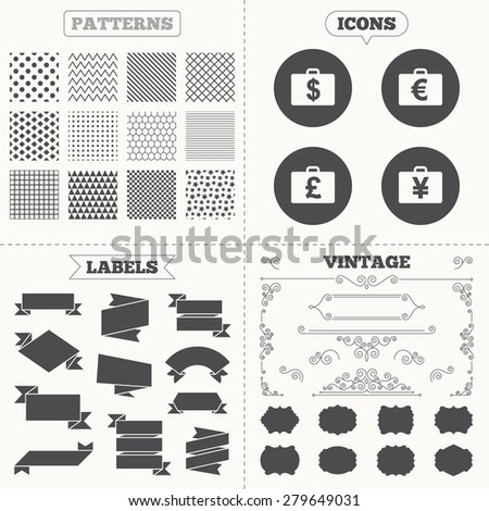 Seamless patterns. Sale tags labels. Businessman case icons. Cash money diplomat signs. Dollar, euro and pound symbols. Vintage decoration. Vector - stock vector
