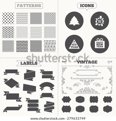 Seamless patterns. Sale tags labels. Happy new year icon. Christmas trees signs. World globe symbol. Vintage decoration. Vector - stock vector