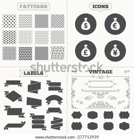 Seamless patterns. Sale tags labels. Money bag icons. Dollar, Euro, Pound and Yen symbols. USD, EUR, GBP and JPY currency signs. Vintage decoration. Vector - stock vector