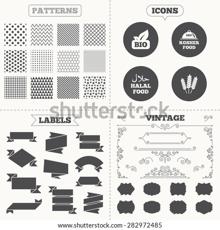 Seamless patterns. Sale tags labels. Natural Bio food icons. Halal and 100% Kosher signs. Gluten free agricultural symbol. Vintage decoration. Vector - stock vector
