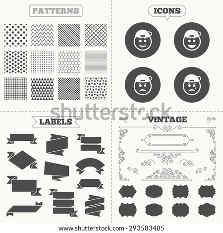 Seamless patterns. Sale tags labels. Rapper smile face icons. Happy, sad, cry signs. Happy smiley chat symbol. Sadness depression and crying signs. Vintage decoration. Vector - stock vector