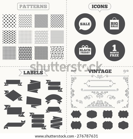 Seamless patterns. Sale tags labels. Sale speech bubble icon. Black friday gift box symbol. Big sale shopping bag. First month free sign. Vintage decoration. Vector - stock vector