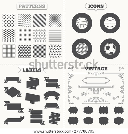 Seamless patterns. Sale tags labels. Sport balls icons. Volleyball, Basketball, Soccer and Golf signs. Team sport games. Vintage decoration. Vector - stock vector