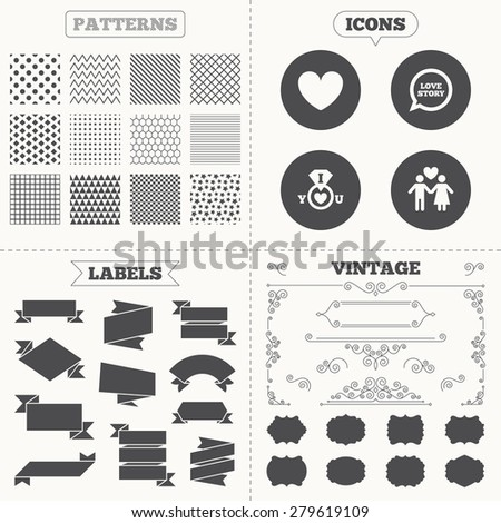 Seamless patterns. Sale tags labels. Valentine day love icons. I love you ring symbol. Couple lovers sign. Love story speech bubble. Vintage decoration. Vector - stock vector