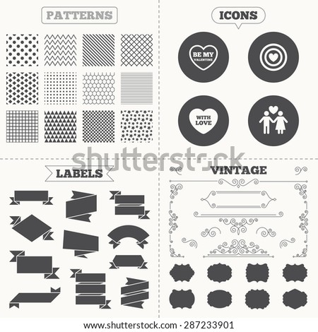 Seamless patterns. Sale tags labels. Valentine day love icons. Target aim with heart symbol. Couple lovers sign. Vintage decoration. Vector - stock vector