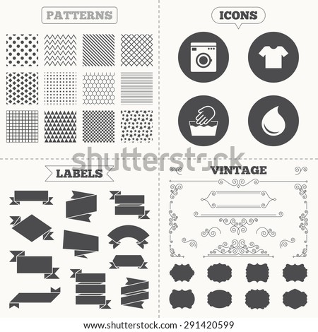 Seamless patterns. Sale tags labels. Wash machine icon. Hand wash. T-shirt clothes symbol. Laundry washhouse and water drop signs. Not machine washable. Vintage decoration. Vector - stock vector