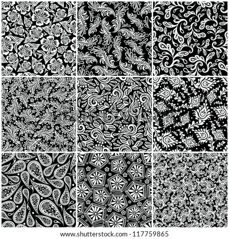 Seamless patterns set. Each pattern on separate layer. EPS-8. - stock vector