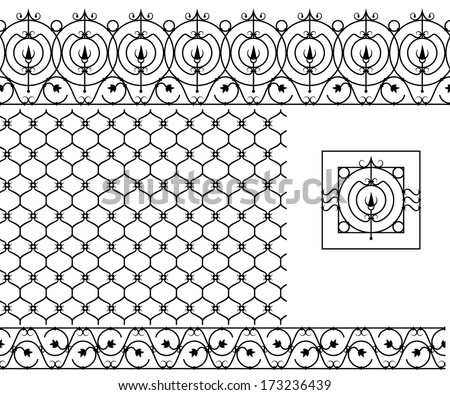 Seamless patterns set for wrought iron railing, grating, lattice, gates, fence. Black silhouette - stock vector