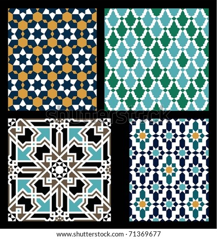Seamless patterns Set in Moroccan style. Mosaic tile. Islamic traditional ornament. Geometric background. Vector illustration. - stock vector