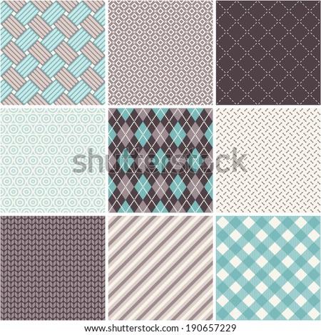 Seamless patterns set - tartan, argyle, sell - stock vector