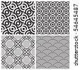 seamless patterns set, vector - stock vector