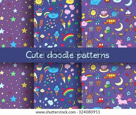 Seamless patterns set with hand-drawn doodle elements in children style: animals, nature, objects, sweets. Cute kids backgrounds.