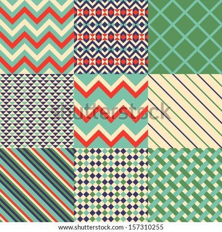 Seamless patterns wih geometric pattern - stock vector