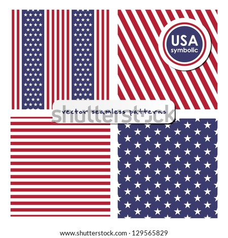 Seamless patterns with American symbols. Vector set. USA flag