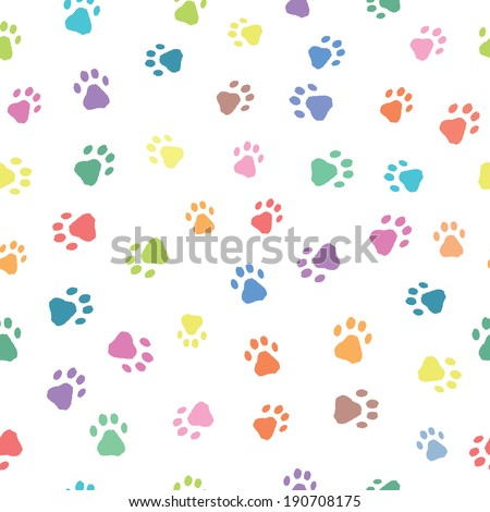 Seamless patterns with colorful prints of cat and dog - stock vector