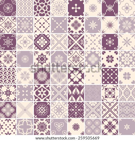 Seamless 64 patterns with decorative ornament - stock vector