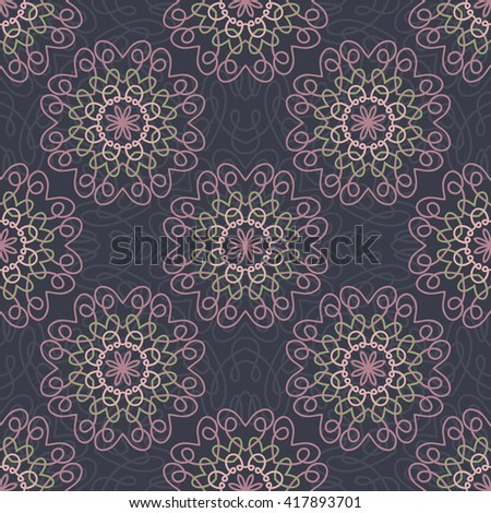 Seamless Patterns with mandala geometric ornaments. Vintage decorative elements. Hand drawn tile background. Islam, Arabic, Indian, ottoman motifs. - stock vector