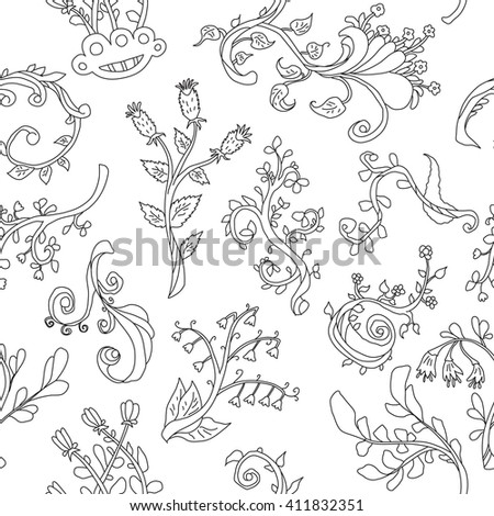 Seamless patterns with plants. Hand drawn line art elements.