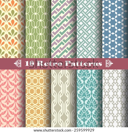 seamless patterns with vintage color style. pattern swatches included. editable vector file easy to change colors and editing.