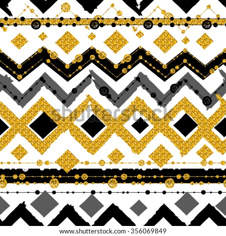 Seamless patterns with white, black, gold, zigzag lines and points, striped, gift boxes and dots. - stock vector