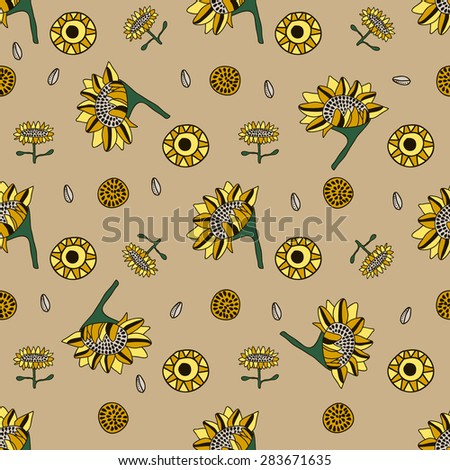 Seamless patterns with yellow sunflowers in cartoon style. Vector illustration.