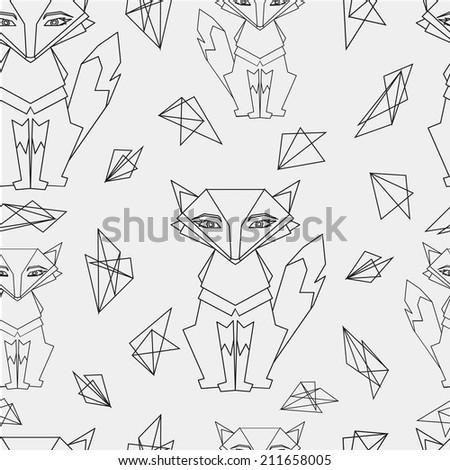 seamless pattren Fox - stock vector