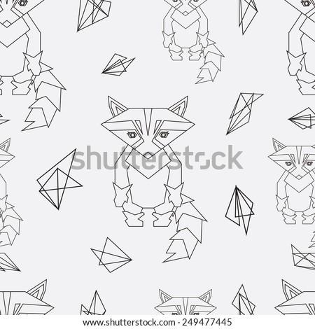 Seamless pattren raccoon - stock vector