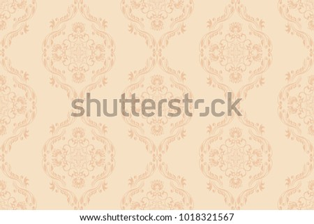 Seamless Peach Ornament On A Beige Wallpaper Pattern Floral Background