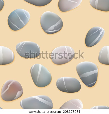Seamless pebbles on sand. plus EPS10 vector file - stock vector