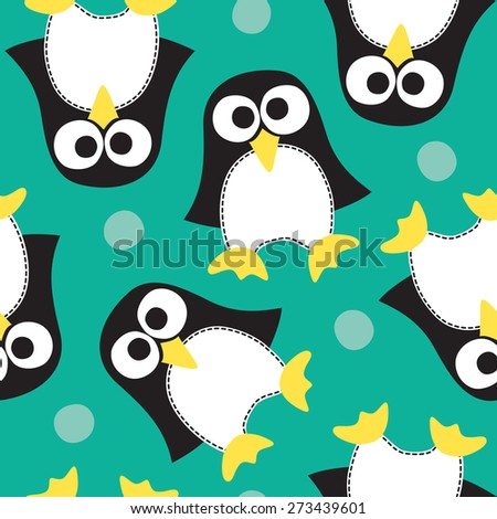 seamless penguin pattern vector illustration - stock vector