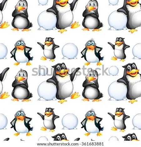 Seamless penguins and snow balls illustration