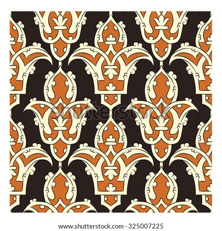 Seamless Persian pattern - brown - stock vector