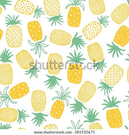 Seamless Pineapple Print - stock vector