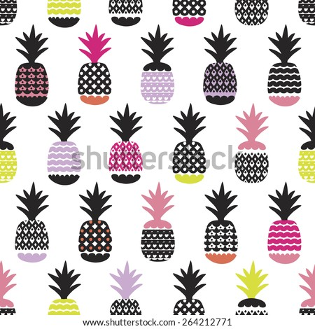 Seamless pineapple retro summer bikini beach theme fruit hot trendy illustration background pattern in vector - stock vector
