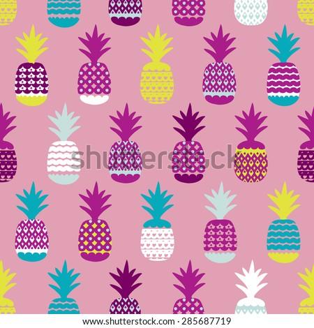 Seamless pineapple retro summer bikini beach theme fruit hot trendy illustration background pattern in vector - stock vector