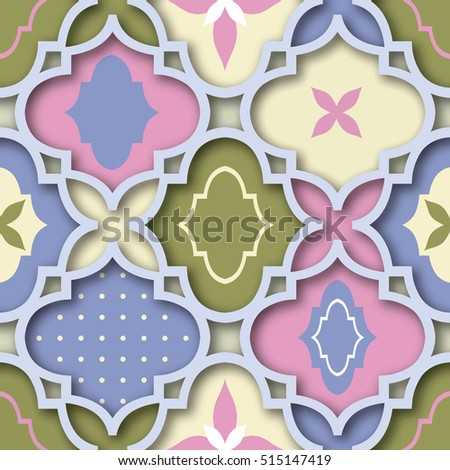 Seamless PINK & BLUE & GREEN patchwork pattern from  tiles, ornaments. Can be used for wallpaper, surface textures, textile, cover etc.