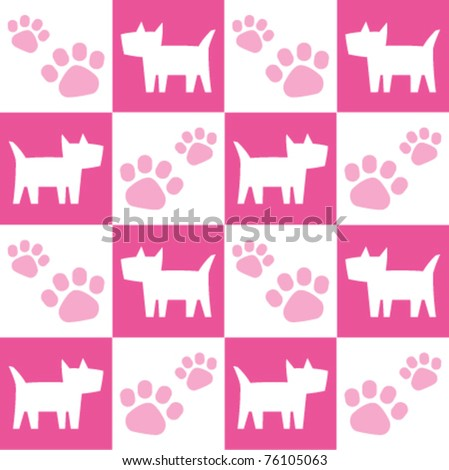 Seamless Pink Dog Pattern - stock vector