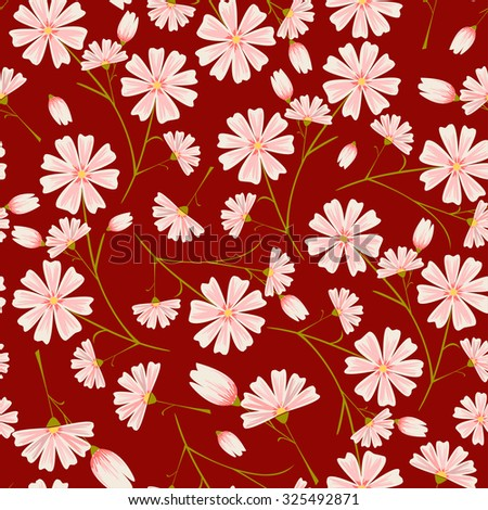 Seamless pink flower pattern on intense ruby red background.