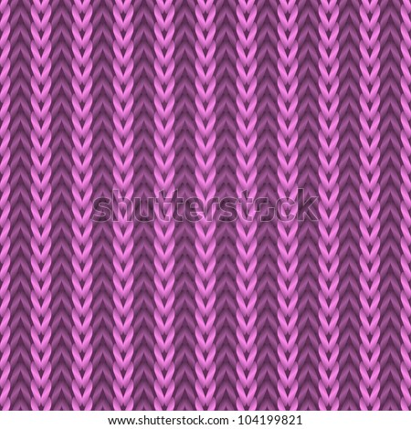 Seamless pink knitting fabric vector pattern. - stock vector