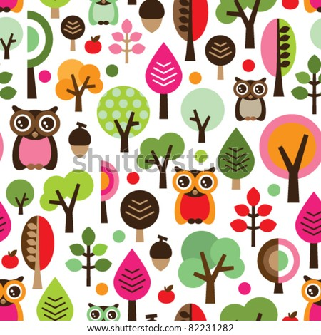 Seamless pink leaf tree retro owl pattern for girls in vector - stock vector