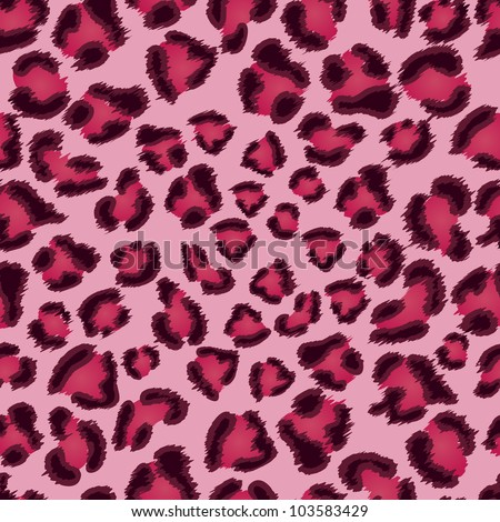 Seamless pink leopard texture pattern. EPS 8 vector illustration. - stock vector