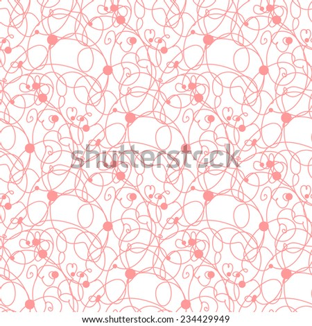Seamless pink lines and dots pattern.  Vintage vector background for textile, wrapping or paper design.
