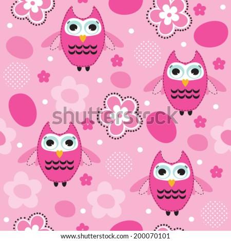 seamless pink owl pattern vector illustration - stock vector