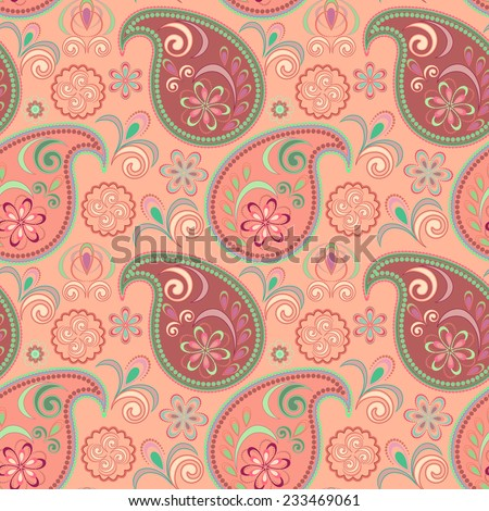 Seamless pink pattern with paisley.Vector background.