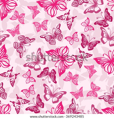 Seamless pink pattern with silhouettes of butterflies