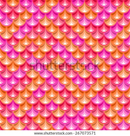 Seamless  pink shiny river fish scales texture. Dragonscale. Bright background for design. Vector illustration eps 10 - stock vector