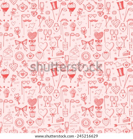 Seamless pink Valentine's Day texture with hearts and other love symbols. Can be used for wallpaper, pattern fills, textile, web page background, surface textures. Vector illustration.