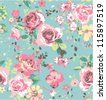seamless pink vintage rose pattern on green blue background - stock