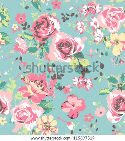 seamless pink vintage rose pattern on green blue background - stock vector