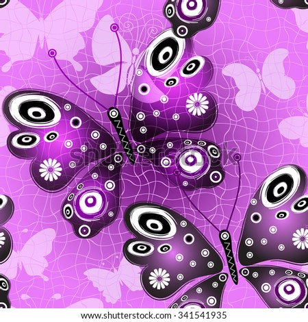 Seamless pink-violet pattern with translucent butterflies, vector eps 10 - stock vector